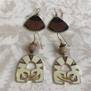 2 Laurel Burch Signed Earrings Lizard Spirit & 1